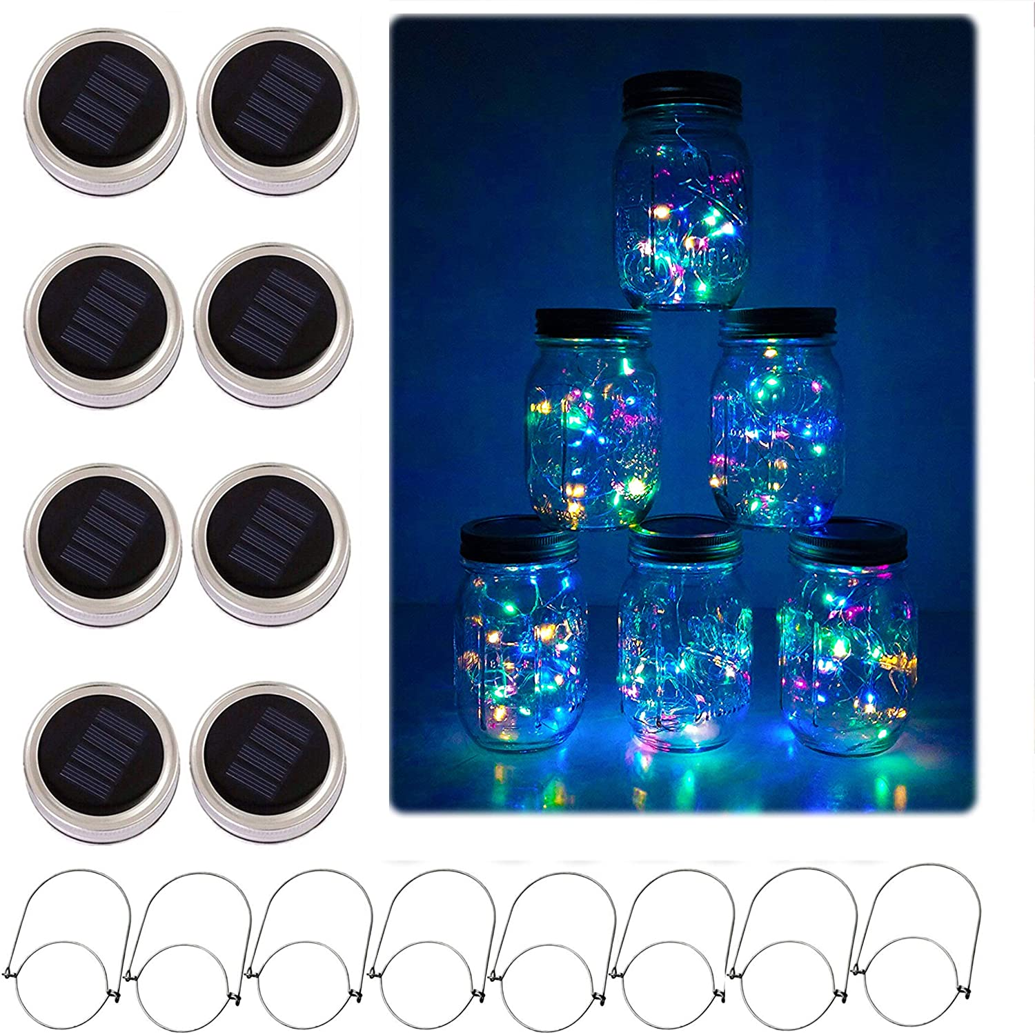 Solar Mason Jar Lid String Lights, 8 Pack 20 Led String Fairy Star Firefly Jar Lids Lights with 8 Hangers Included (Jars Not Included), for Mason Jar Patio Garden Wedding Lantern (Colorful)