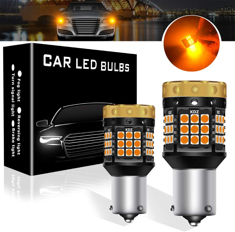 Teguangmei Turn Signal Light Bulbs, No Hyper Flash 1850Lumen 45SMD BAU15S 7507 PY21W Front Rear Turn Signal Bulb Canbus Error Free Led Turn Signal Lights Amber Yellow Pack of 2