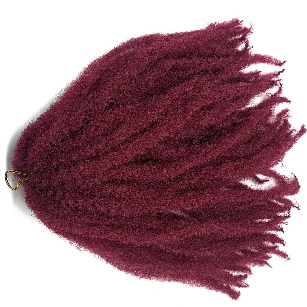 5 packs Marley Braids 18 Inch Afro Kinky Curly Hair Crochet Braids Synthetic Marley Bob Hair Crochet Twist Braids Marley Hair (5 packs, Burg)