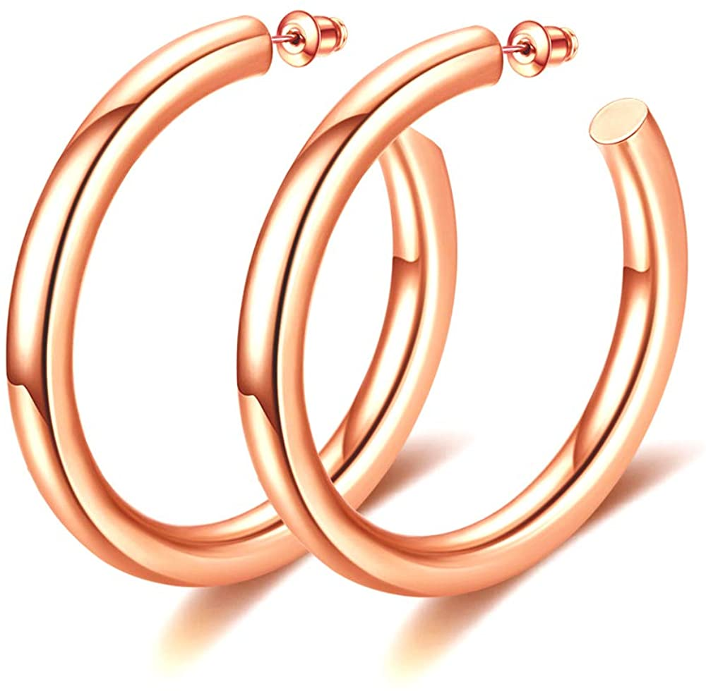 Hoop Earrings Hypoallergenic, Fashion Large Thick White Gold Plated Open Hoop Earrings for Women Earrings Jewelry Gifts 2in