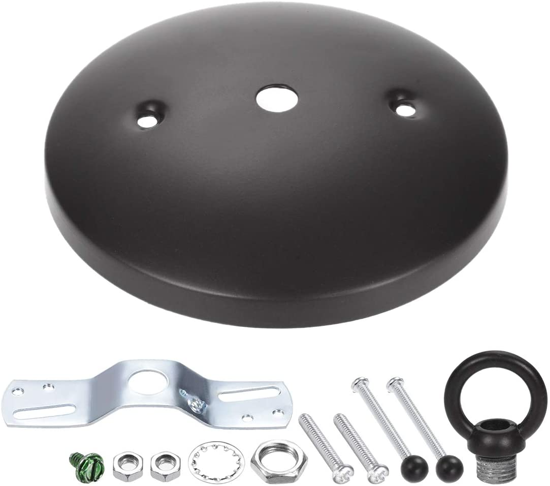 uxcell Retro Light Fixture Canopy Kit with Loop, Vintage Chandelier Ceiling Plate, 5 Inch 125mm Oil Rubbed Bronze