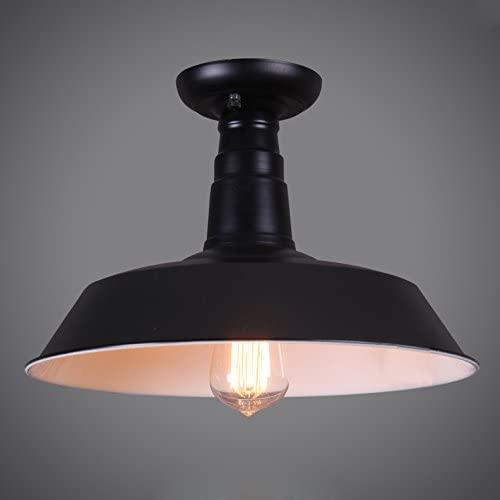 JiuZhuo Industrial Loft Single Edison Bulb Metal Semi Flush Mount Light Ceiling Light