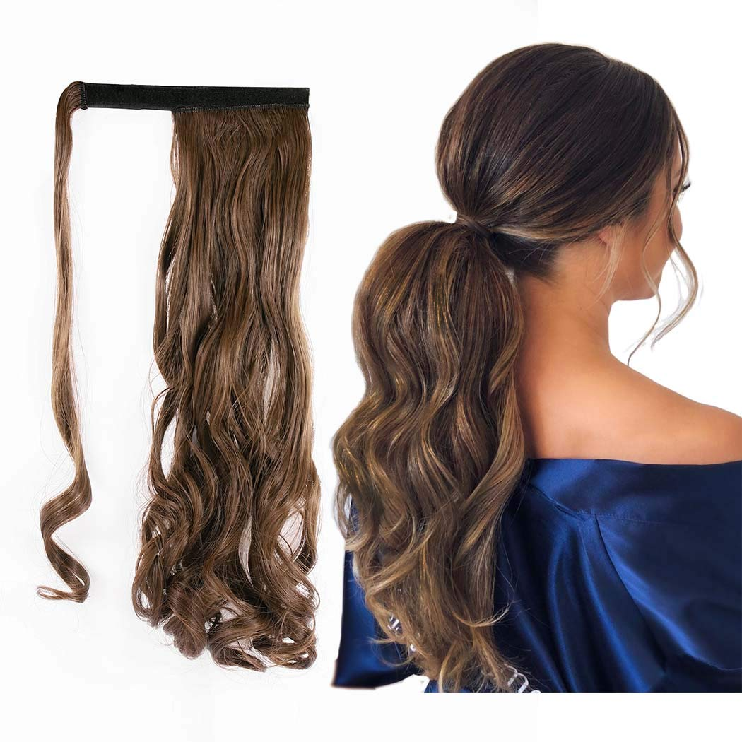 Gangel Ponytail Extension Curly Wavy Pony Tails Wrap Around Hairpiece Claw Synbthetic Clip in Long Hair Extensions Magic Paste Hair Wraps Hair Ponytail for Women and girls(Pack of 1) Light Brown(8#)