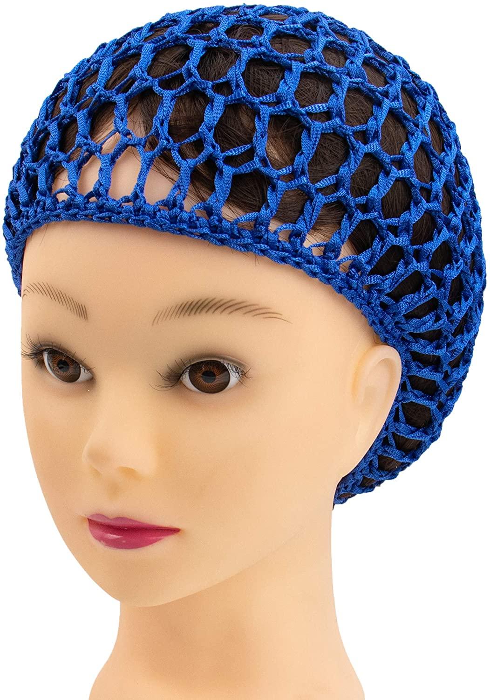 AUEAR, Mesh Crochet Hair Net Thick Short Hair Net Snoods Cover Women Hairnet for Sleeping (3 Pack, Blue)