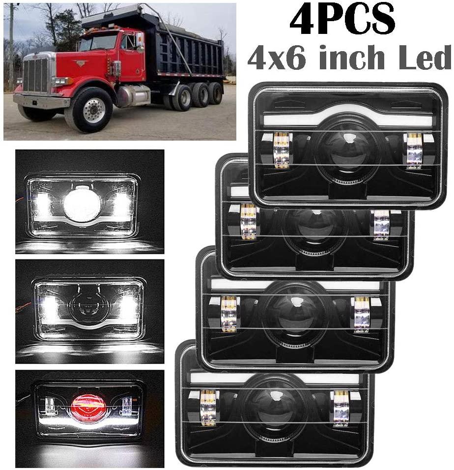 4x6 inch LED Headlights DRL Amber High and Low Sealed Beam for Truck Peterbilt 357, Peterbilt 378, Peterbilt 379, Rectangular H4656 H4651 H4656 H4651 H4642 H4652 H4 Conversion kits (Package of 4PCS)