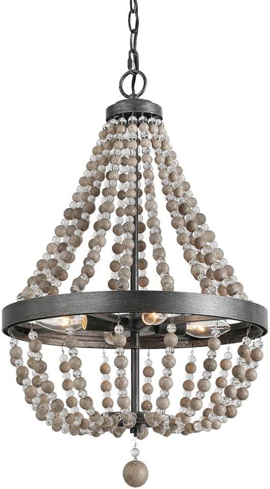 LALUZ 4-Light Wood Empire Chandelier Kitchen Island Lighting, Natural Wood Beads, 25.4