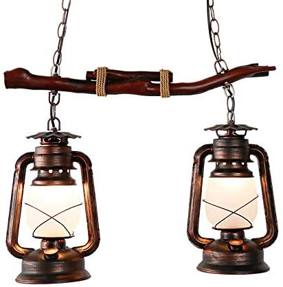 Retro Wood Chandelier, CraftThink Vintage Pendant Lamp Kitchen Island Lamp Industrial Lamp with 2 Flammig E26 Lamp Holder for Dining Room Restaurant Bar Office