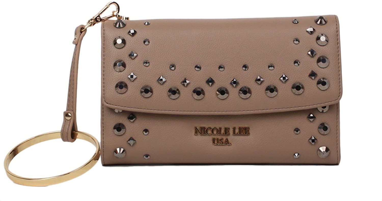 Tri-Fold Wristlet Wallet Embellished with Beads