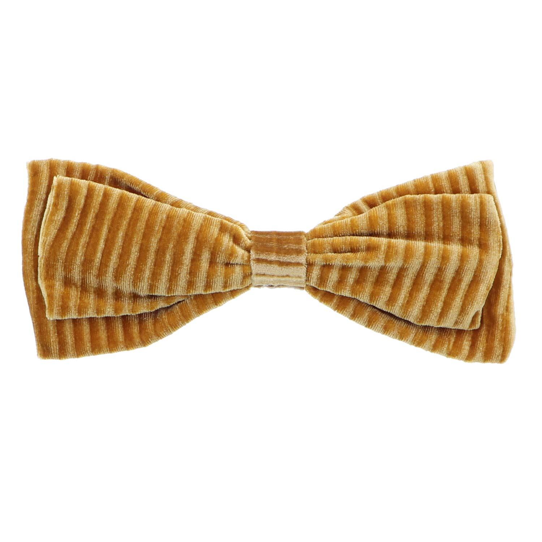 Mustard Ribbed Velvet Hair Bow Bendable Holiday Hair Clip