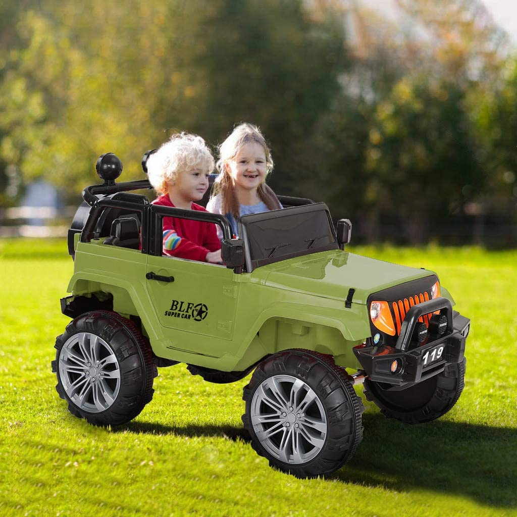 Tengma Ride On Car,2.4G Off-Road RC Car Manned Truck Dual Mode Support Kids Ride-on Car Manual/ Parental Remote Control Modes Truck Vehicle with Headlights, MP3 Port, Music, Horn for Kids