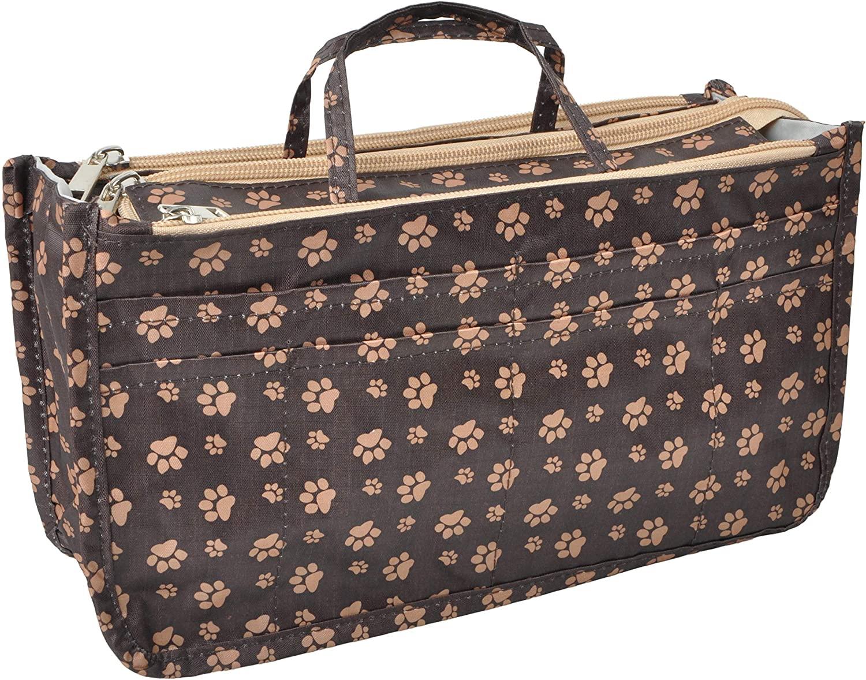 Vercord Patterned Purse Handbag Tote Pocketbook Bag Organizer Insert with Zipper Handle for Women Footprint Medium