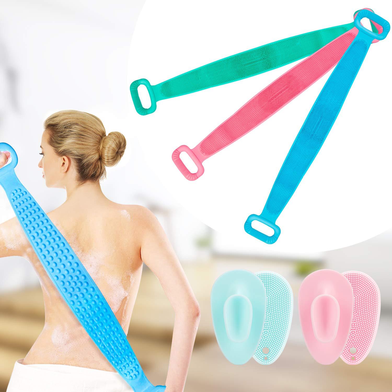 Guteauto Silicone Bath Body Brush, Bath Exfoliating Silicone Body Back Scrubber, Body Wash Silicone Body Scrubber Easy to Clean 76 11cm. (Green)