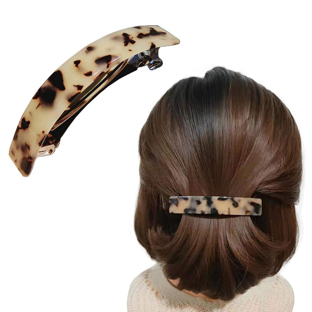 Bow Tortoise Shell Celluloid Acetate Durable Hinge Hair Barrette Leopard Print Ponytail Holders Classic French Barrette Rubber on the Clips Hairclip for Thick Hair