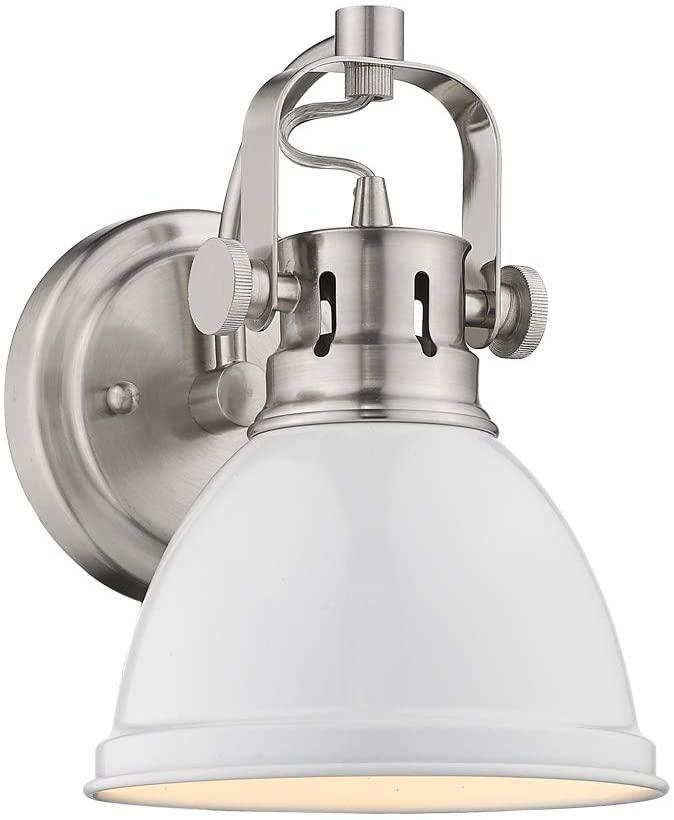 Emliviar 1-Light Bathroom Wall Sconce Vanity Light Fixture, Hallway Wall Light in White Finish with Metal Shade, 4053B
