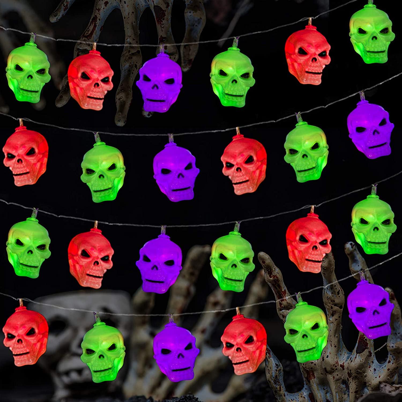 Greatfine Halloween String Lights15 LED&10 Ft,Skull Fairy Light Flashing Mode,Skull String Light Indoor Outdoor Decorations,3 Colors Lights Decor Home for Halloween,Thanksgivings,Battery Operated
