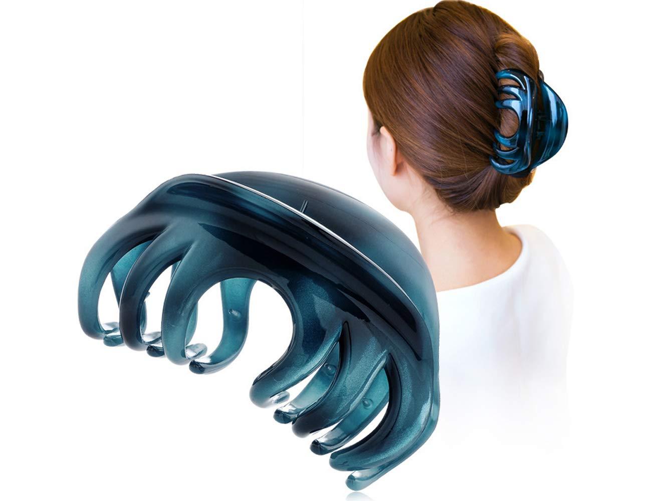 Youxuan Hair Claw for Women, 4 Inch Pretty Hair Clip, Hair Grip for Thick Hair, Niagara Blue