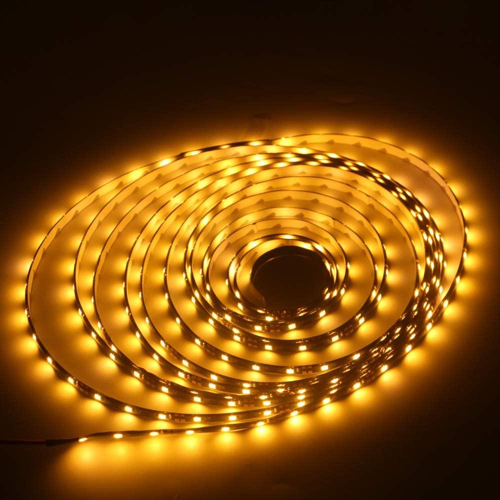 Grandview 16.4ft/5m 300 Units 3528 12V DC Flexible LED Waterproof Strip Lights LED Light Strips Waterproof Party Concert Home Decor Landscape Auto Under Cabinets Lights Festivals-Yellow