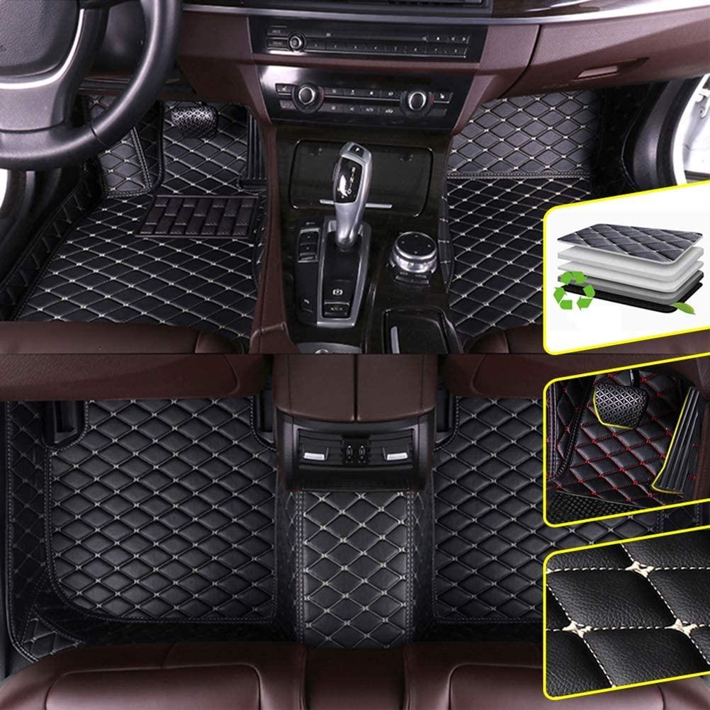 DBL Custom Car Floor Mats for BMW 5 Series F10 F11 F07 520i 523i 528i 535i 550i 2010-2013 Sedan Waterproof Non-Slip Leather Carpets Automotive Interior Accessories 1 Set Black & Beige