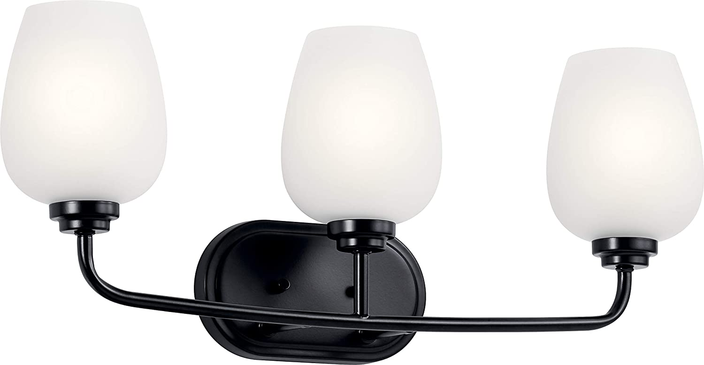 Kichler 45129BK Valserrano Wall Sconce, 3-Light 225 Total Watts, Black