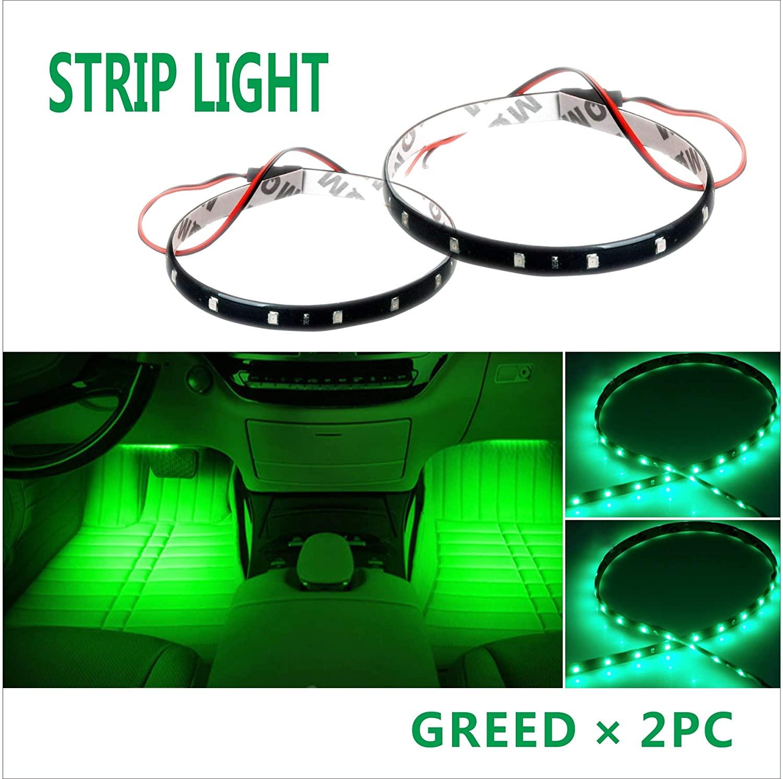 2x12inch(30cm) Green LED Strip Light 12V Car Motor Bike Boat Flexible Waterproof (Green)