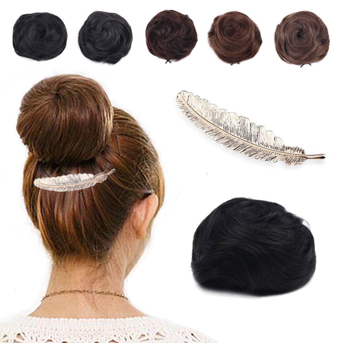 BLUEBUBBLE Synthetic Fibre Hair Bun Extension Elastic Scrunchies Ponytail Hairpieces Donut Chignon Bun Hair Updo Wig For Girls Women Teens Hair Clip Barrette-Free