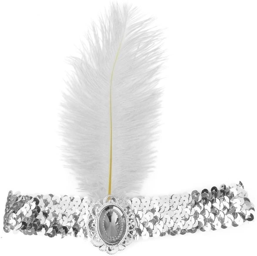 WINOMO Women Headwear Sequined Feather Headband