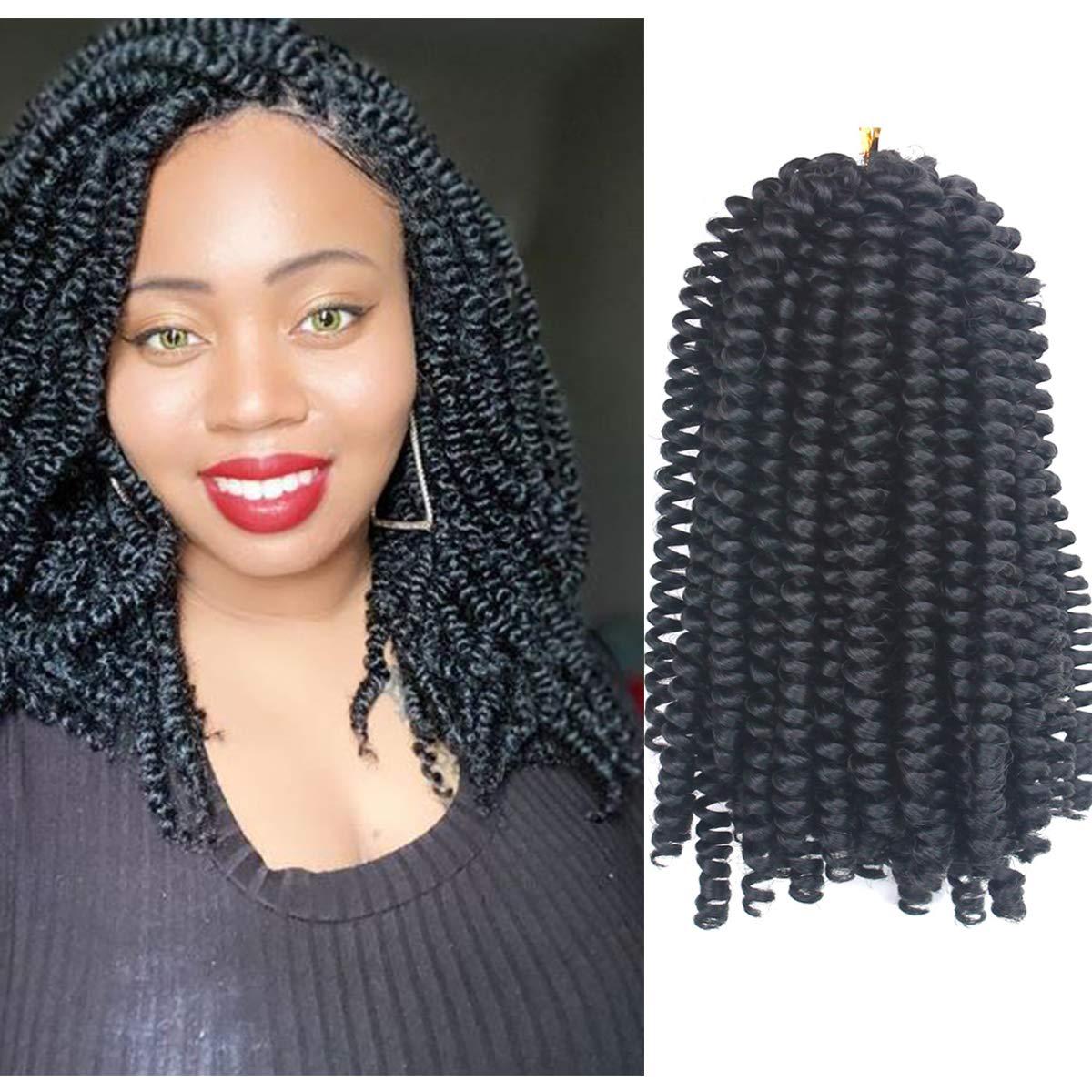 8 Inch Spring Twist Crochet Braiding Hair Extensions Natural Black Color 4 Packs Synthetic Short Bomb Twist Mini Passion Twist Fluffy Spring Twist Crochet Braids Hair(30Strands/Pack,2#)