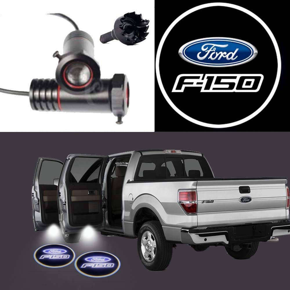 2Pcs LED Projection Logo Shadow For Ford F150 Car Door Welcome Light Door Light Projector DIY Step Light Symbol Sign Badge (For Ford F150)
