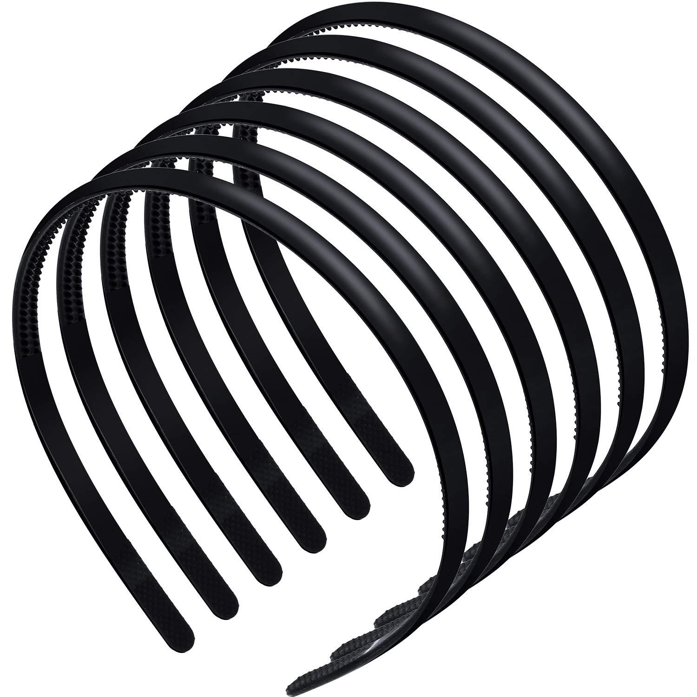 6 Pieces Plastic Plain Headbands Teeth Comb Headbands Skinny DIY Hair Bands Headbands for Women Girls (Rubber Black)