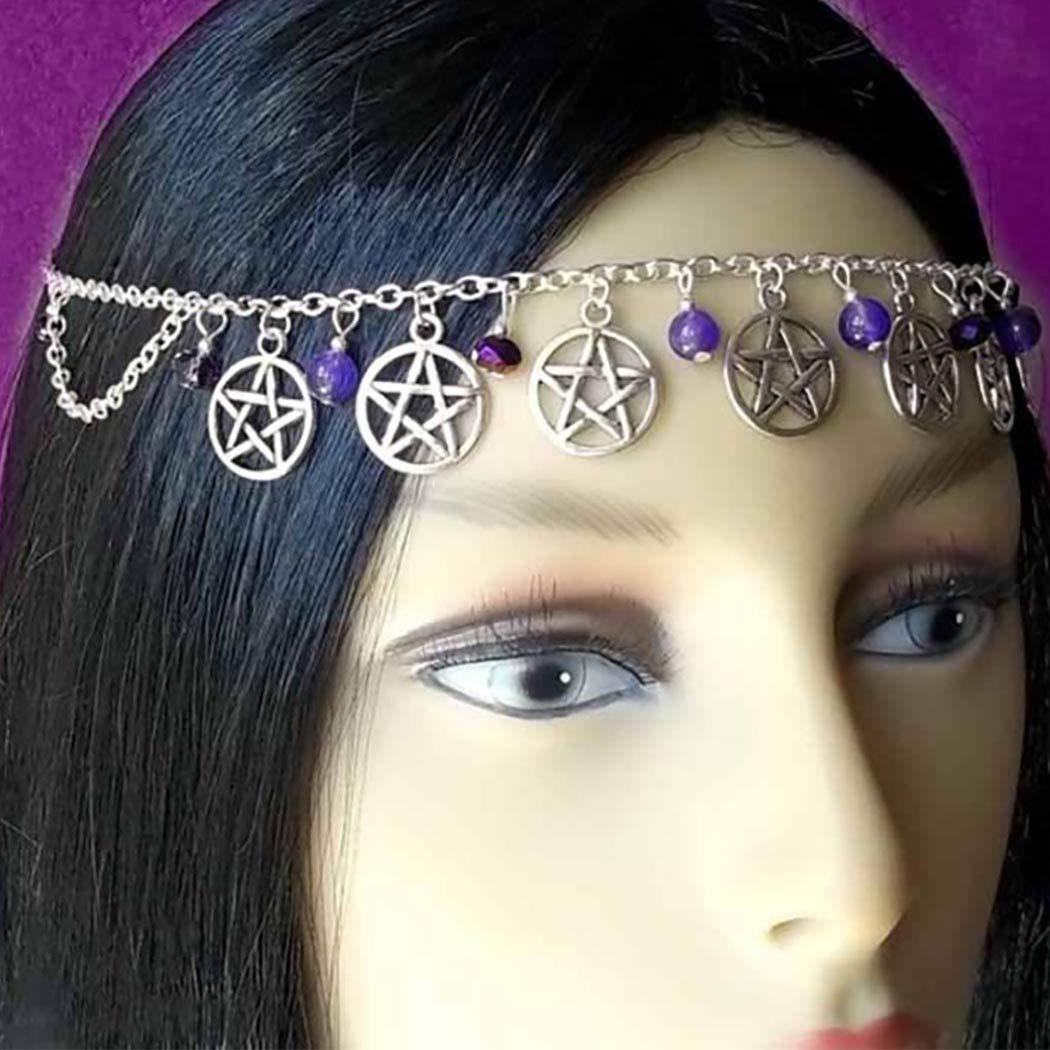 Awanka Boho Head Chain Purple Crystal Pendant Hair Chain Star Headpiece Jewelry for Women and Girls