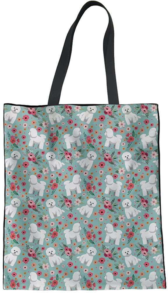 Coloranimal Cute Animal Dog Flower Linen Tote Bag for Women Grocery Handbag