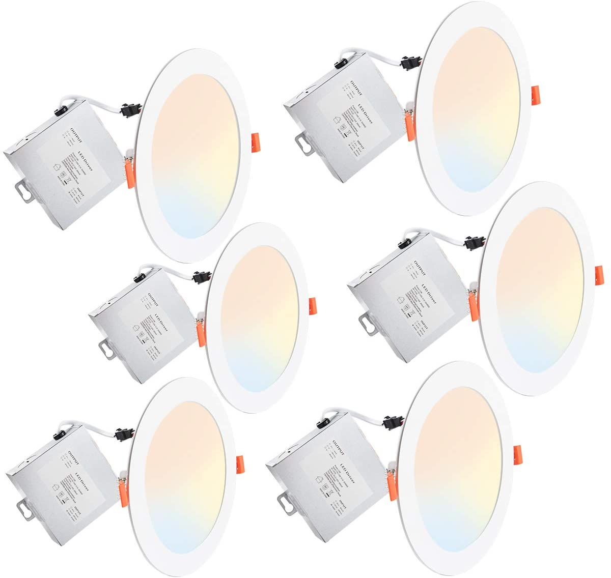Lightdot 5/6 Inch 3000K/4000K/5000k/ Color Temperature Adjustable 12W Ultra Thin LED Recessed Down Light with Junction Box Dimmable(12W=100W), 6 Pack