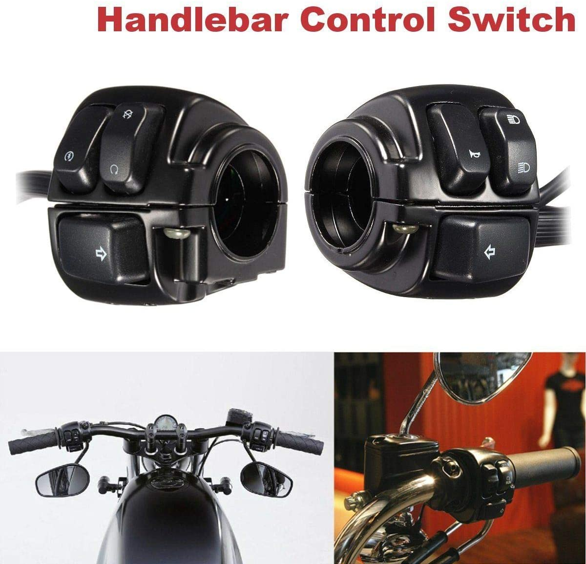 MASO Pair Motorcycle 1'' 25mm Handlebar Control Switch with Wiring Harness for 1996-2012 Sportster 883 1200