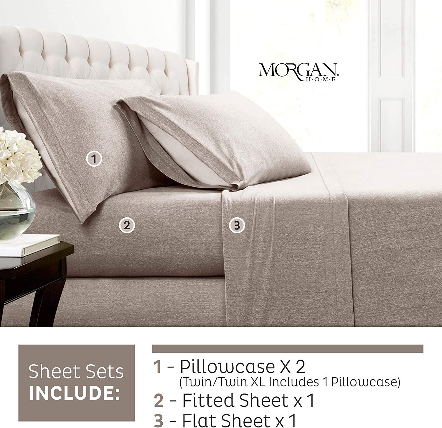 Morgan Home Fashions Cotton Rich T-Shirt Soft Heather Jersey Knit Pillowcases- All Season Bed Sheets, Warm and Cozy (2 Pack Pillowcases, Heather Taupe)