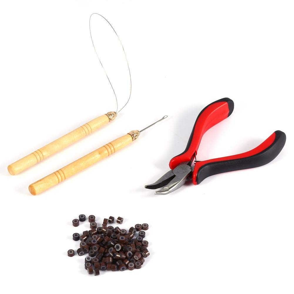 Hair Extension Tools Kit, 100PCS Silicone Beads Hair Extension Micro Rings with Hook Needle, Pulling Loop and Plier for Micro Ring hair Extensions Feather Hair Extensions
