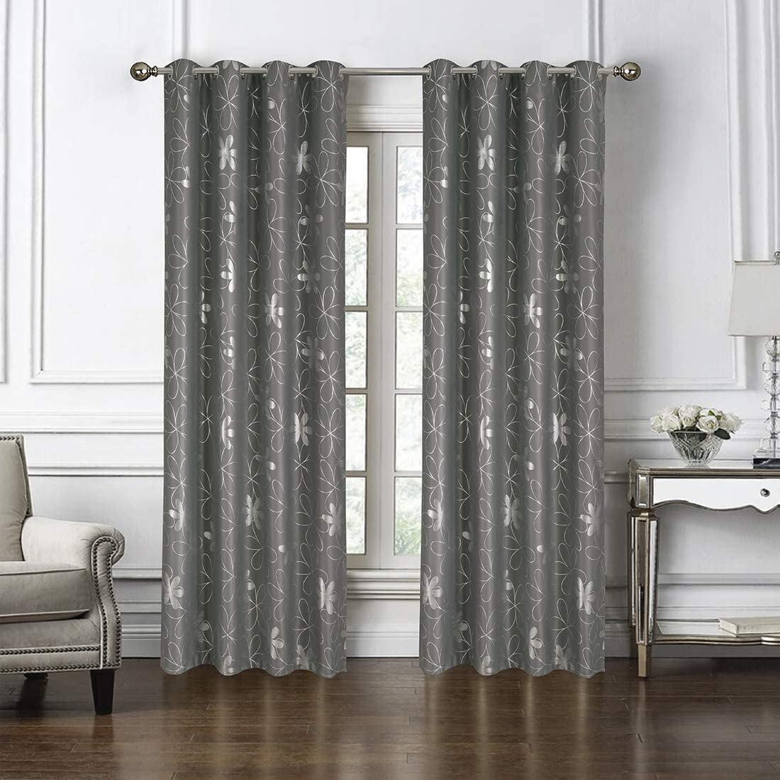 Domook Smooth Flower Printed Gray Blackout Thermal Insulated Grommet Top Window Curtains Panels for Bedroom Living Room Kitchen, 1 Panel, Flower, 52 W x 84 L