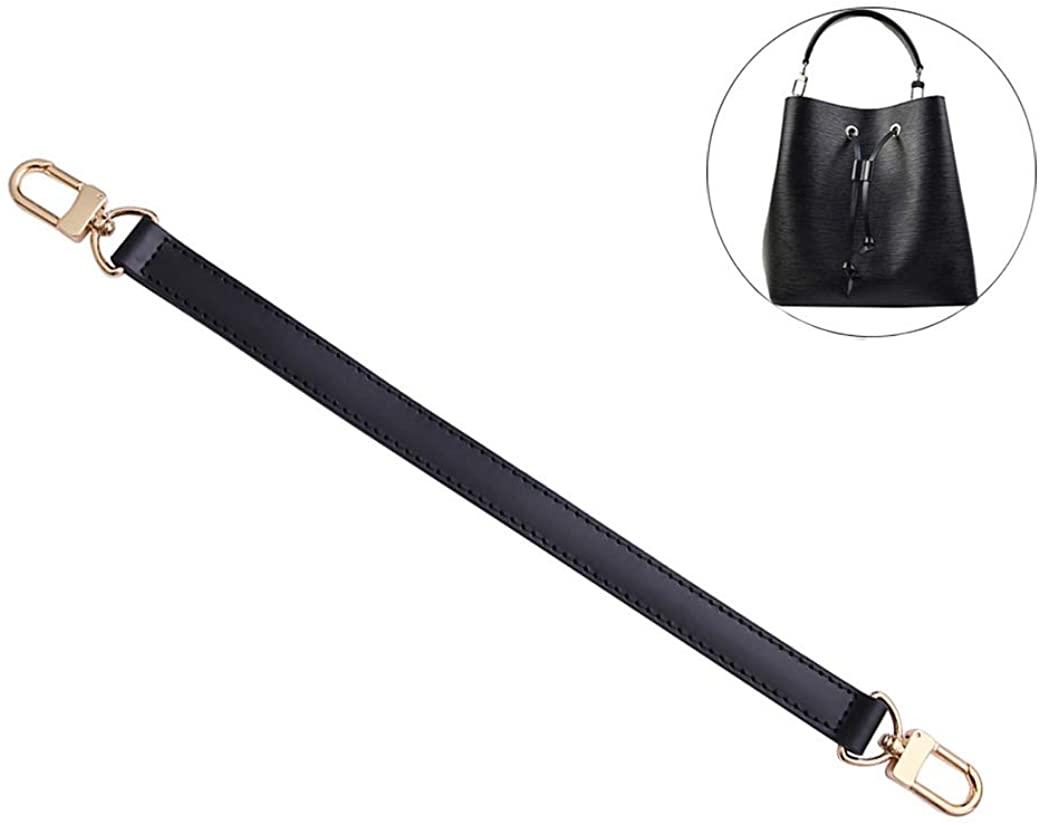 Genuine Leather Plain Strap Replacement for Neonoe Hnalde Strap Bucket Bag Handbag Top Handle Black Brown Leather Strap
