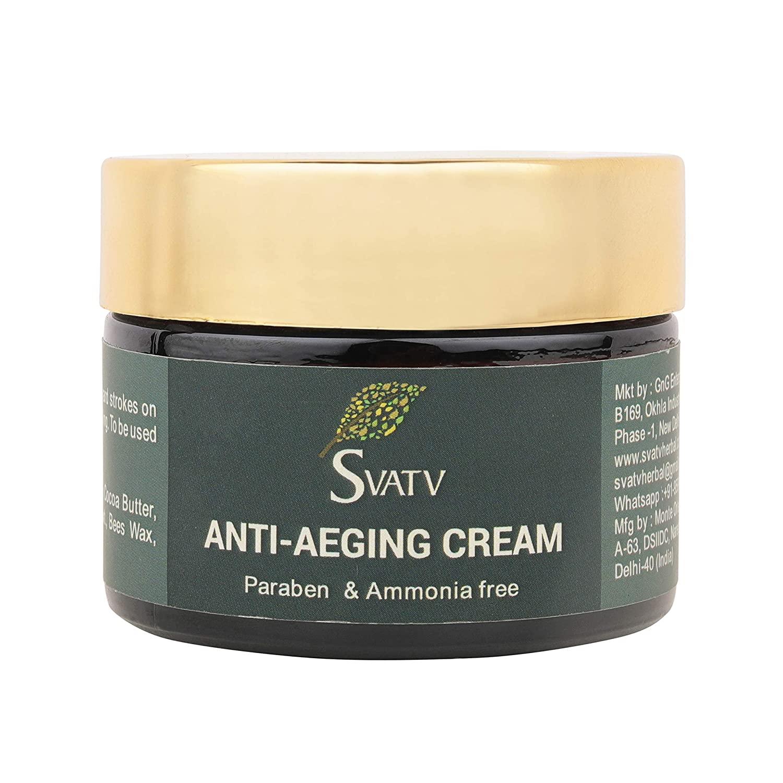 SVATV Anti Ageing Cream - Paraben & Ammonia Free For All Skin Types - Anti Aging Effect - With Hyaluronic Acid & Vitamin E - Anti wrinkle Cream & Facial Moisturizer for Women - 1,7 OZ