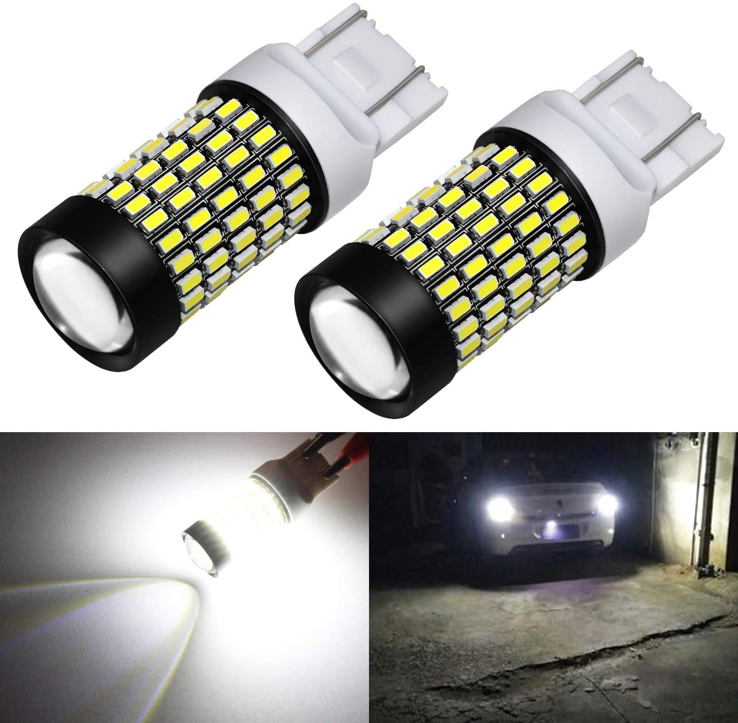 Phinlion 7443 LED Bulb White Super Bright 2800 Lumens 3014 103-SMD 7440 7444 LED Bulbs with Projector for Back Up Reverse Turn Signal Brake Stop Tail Lights, 6000K Xenon White
