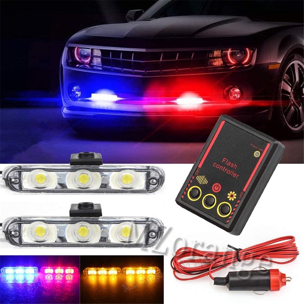 Clidr 2pcs 3-Led Police Stroboscope Automobile 12v 6w LED Car Flasher Warning Light Day Lights For Car Waterproof Strobe Controller (Blue)