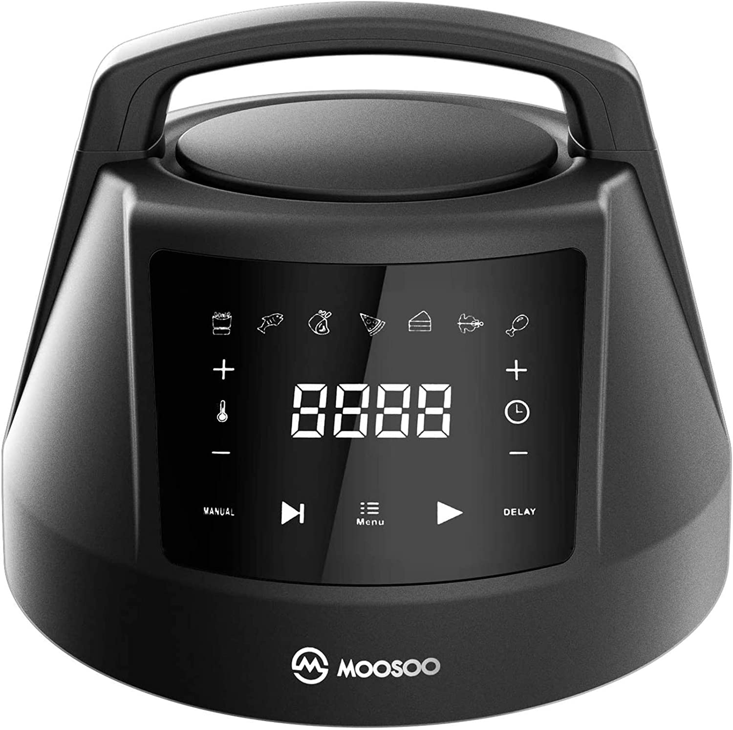 MOOSOO 6 QT Air Fryer Lid for Instant Pot with 7 Optional Presets, Turn Your Electric Pressure Cooker Into Air Fryer in Seconds, 95% Less Oil Air Fryer Lid with Digital LED Display & IMD Touch Panel
