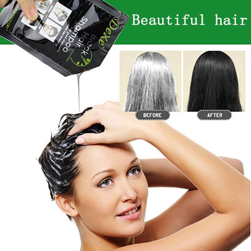 Xisheep??Shipped from the United State 10Pcs Black Hair Shampoo White Hair Into Black Instant Hair Dye Natural Black - Facial Care (Black)