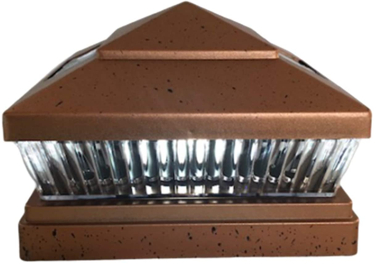 2 Pack Solar Square Outdoor Black 6x6 Fence Post Cap Light with 5 LED Bulbs Black/Copper/Brown/White (Copper)