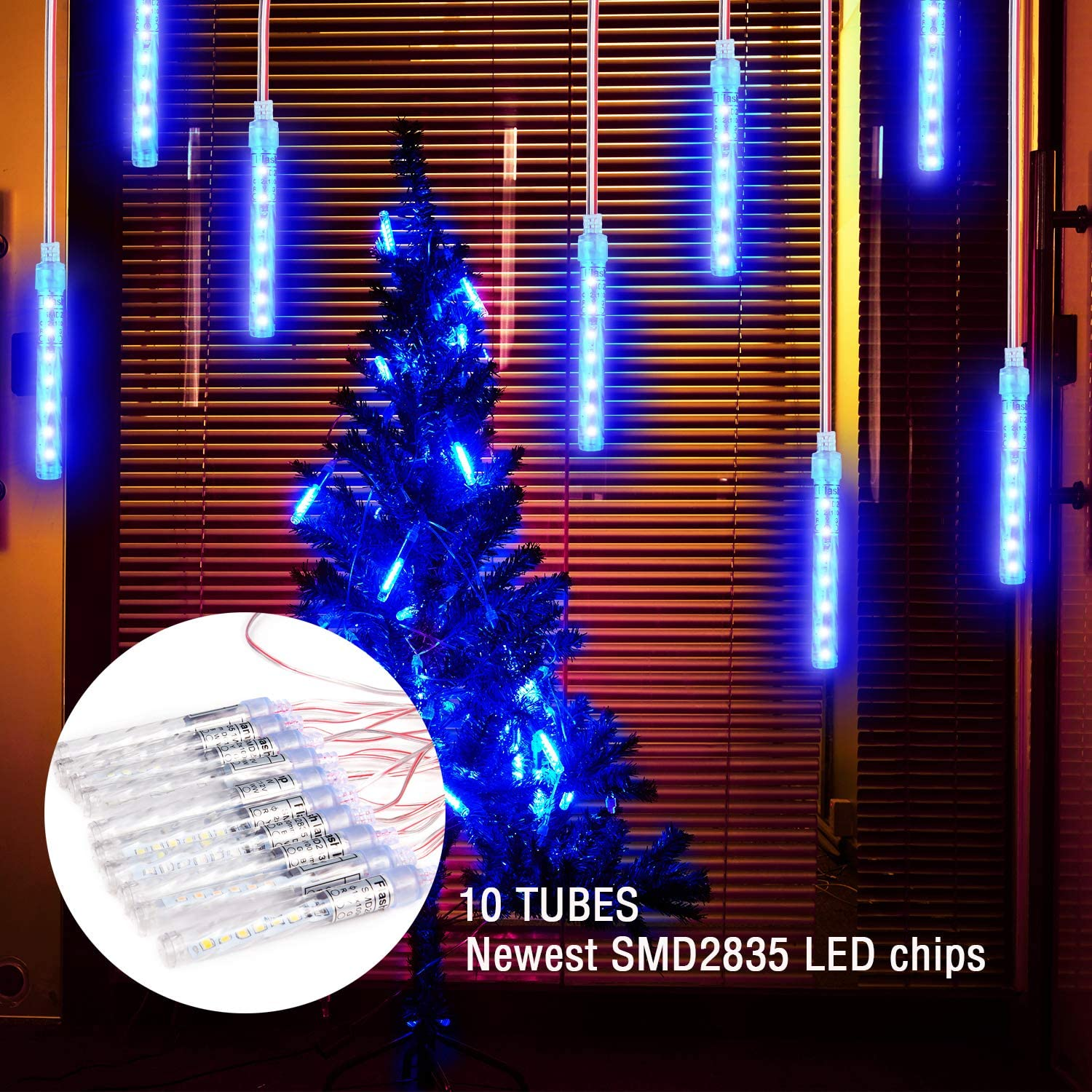 Xmas LED Icicle Snow Lights,120 LEDs & 10 Tubes Upgraded Starry Flash String Lights Waterproof Tubes and Plug for Holiday Party Home Garden Tree Decor,12V Powered Support 5 Sets Hook Together (Blue)