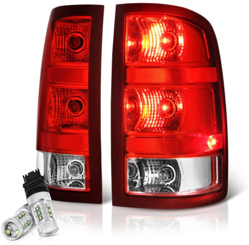 VIPMOTOZ Red Lens OE-Style Tail Light Lamp Assembly For 2007-2013 GMC Sierra 1500 2500HD 3500HD Pickup Truck - CREE LED Backup Bulbs Included, Driver & Passenger Side