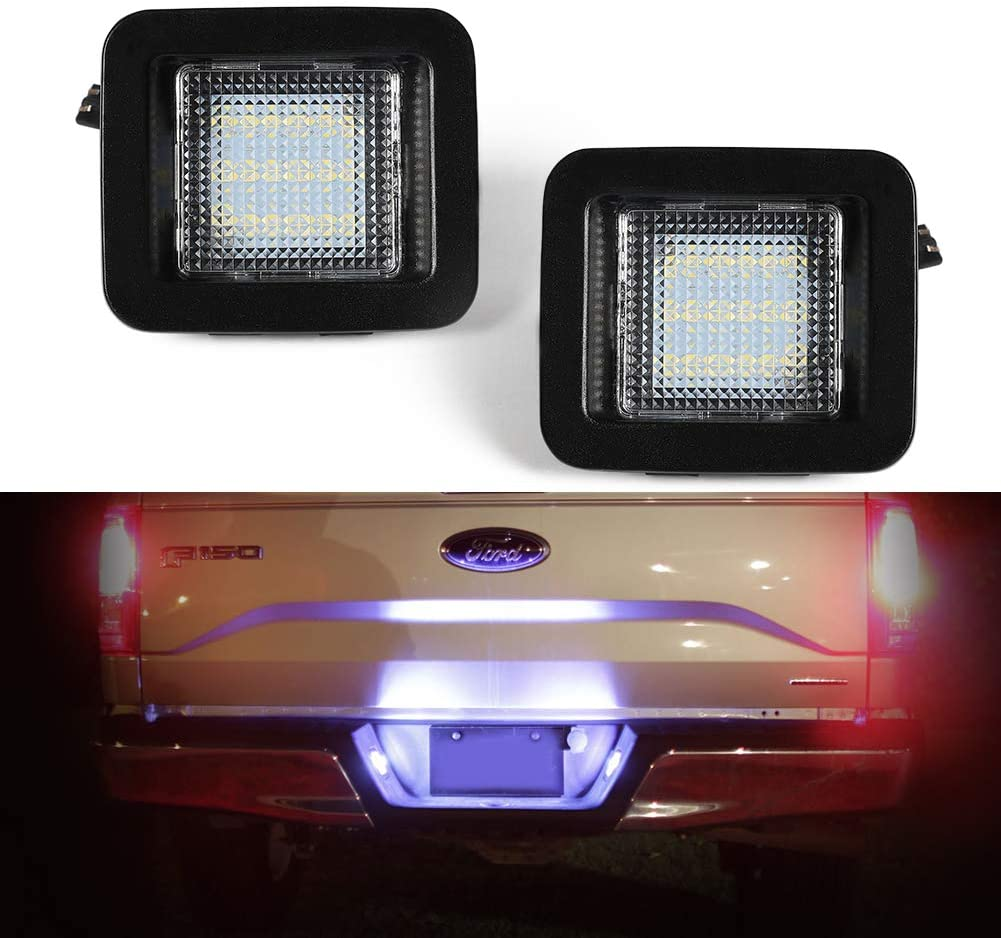 Gempro 2-Pack LED License Plate Light Lamp Assembly For 2015-up Ford F150, 2017-up Ford Raptor, Powered by 18SMD White 6000K LED Lights