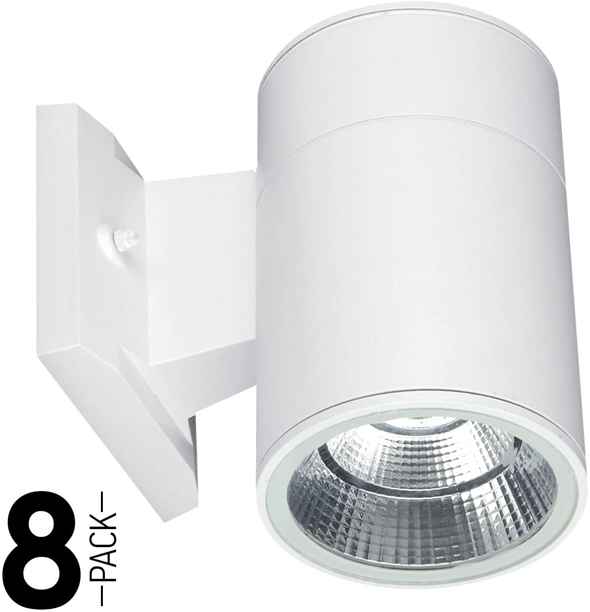 OSTWIN (8 Pack) 1-Direction LED Outdoor Cylinder Up or Down Light, 9W (60W Equivalent), 735 Lumen, 5000K Daylight, Modern Light Fixture for Door Way, Corridor, Waterproof, White, ETL and Energy Star