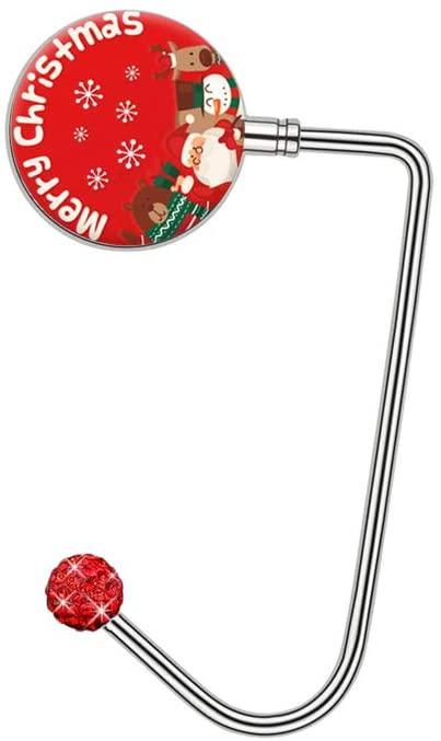 YUESUO Portable Purse Hook, Bling Crystal Handbag Hook for Desk Table Metal Bag Hanger Holder Christmas Socks Hook (Red Crystal, Merry Christmas)