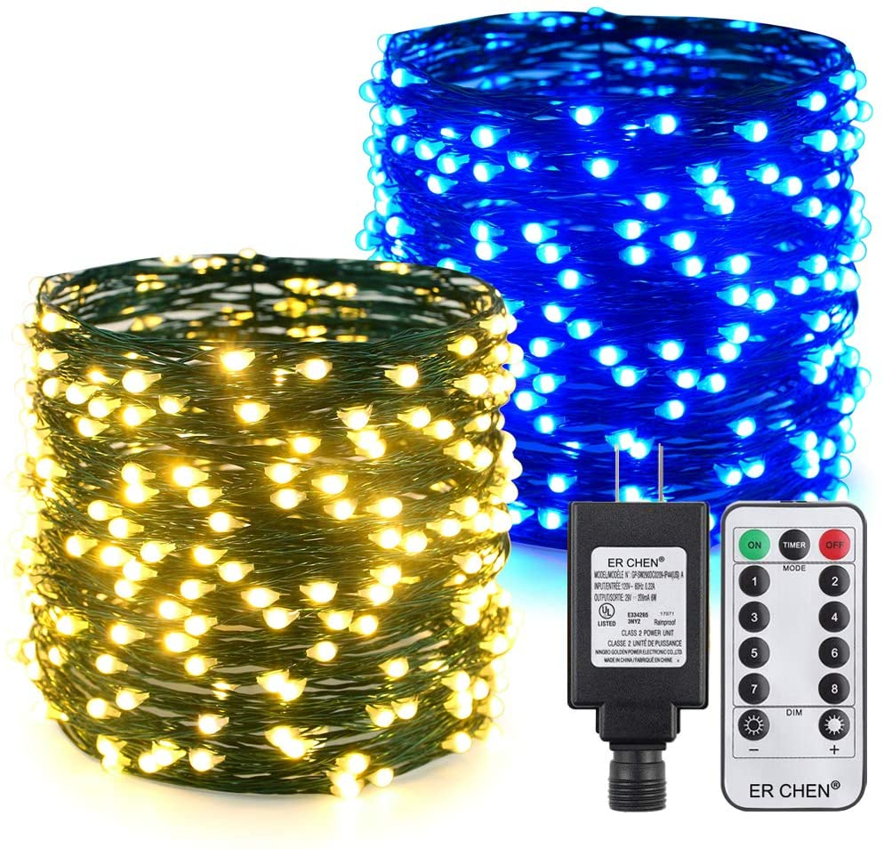 ER CHEN Color Changing LED String Lights Plug in with Remote Timer, 105Ft 300 LEDs Waterproof Green Copper Wire 8 Modes Christmas Fairy Lights for Bedroom, Patio, Garden, Yard-Warm White & Blue