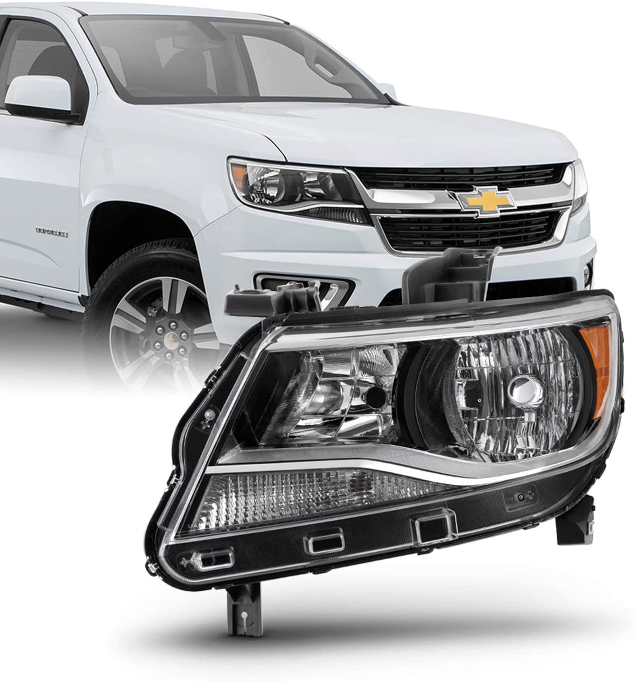 Black Headlight [Halogen Type] Fits 2015-2020 Chevy Colorado Driver Left Headlamp Replacement 15 16 17 18 19 20